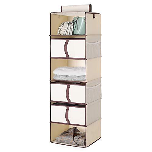 "StorageWorks 6-Shelf Hanging Closet Shelves, Hanging Closet Organizer with 3 Divisible Drawers, Canvas, Beige, 13.6""W x 12.2""D x 42.5""H"