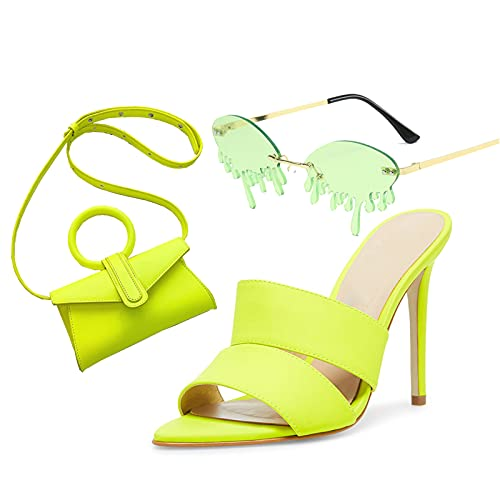 AELEGASN Conjunto de Bolso de Sandalia y Gafas de Sol de Moda para Mujer, Elegante Tacones Verdes, Bolso de Hombro Retro, Conjunto de Gafas de Sol Personalizadas,41