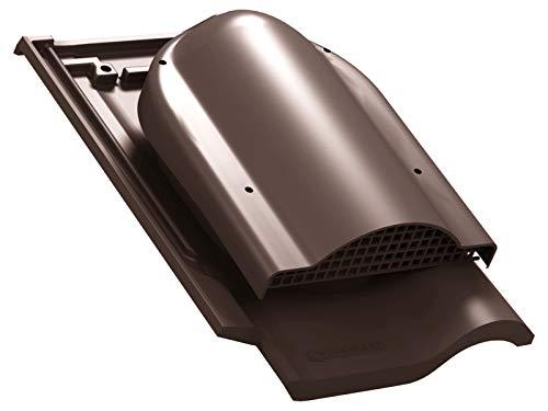 Flachlüfter für Braas - Rubin 13V Dachziegel, Dachlüfter Entlüfter Lüftungsziegel (RAL 8017 - Braun)