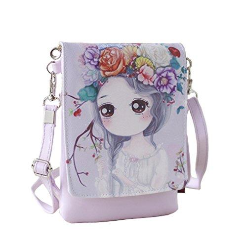 Teens Girls Kids Students Cute Cartoon Theme Mini Shoulder Bags Cross Body Bags Key Money Cell Phone Holder Case Purse Small Wallet Pouches Clutch Handbag