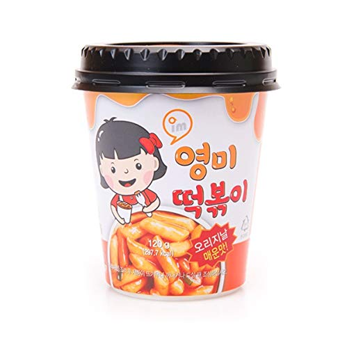 Young Mi Instant Toppoki Cup Rice Cake, Tteokbokki Popular Korean Snack With A Spicy Sauce , Stir-fried Rice Cake, Ddokbokki (Spicy-1 cup)