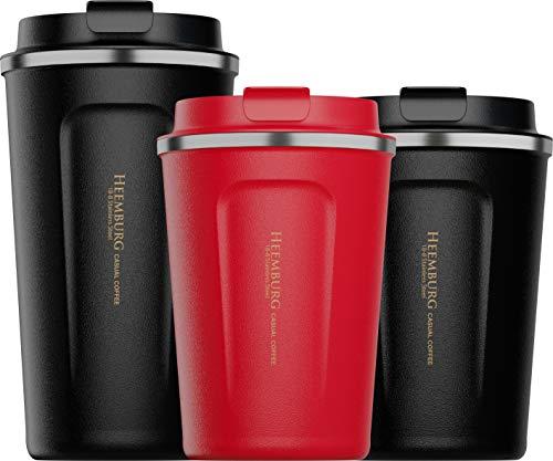 Heemburg Kaffeebecher für unterwegs Coffee-to-go Thermobecher schwarz 350 ml aus Edelstahl mit Doppelwand Isolierung 100% auslaufsicher für Kaffee oder Tee, Rot, 350ml (Ohne Lid - 380ml)