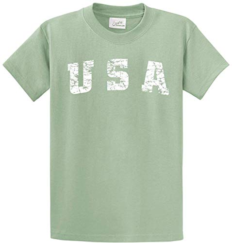 Joe's USA - Vintage USA Logo Tee T-Shirts in Size 2XL Stonewashed Green