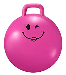 """Pink Junior level, small bouncy space hopper Also available in blue, green, Orange, red & yellow ( see our other items ) Inflates to 15""""/38cm diameter and can hold up to 30 kg please note these are small space hoppers suitable for younger children Ea..."""