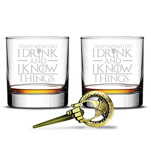 Game of Thrones Highball Whiskey Glass - I Drink and I Know Things - Christmas Holidays Black Friday Gifts for Dad Presents Father's Day - Set of 2 -
