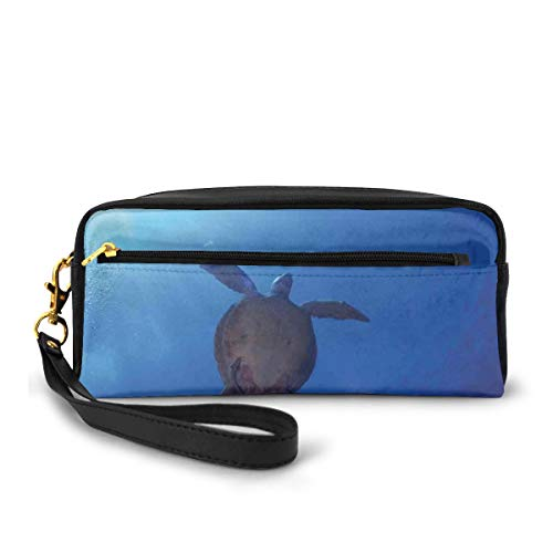 Pencil Case Pen Bag Pouch Stationary,Sea Turtle Swims to The Surface of Deep Sea with The Sunlight Nature Picture,Small Makeup Bag Coin Purse
