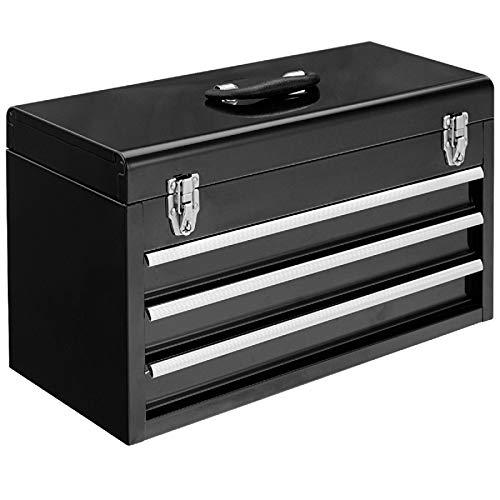 COSTWAY Werkzeugkiste Werkzeugaufbewahrung Werkzeugkasten Werkzeugbox, Schubladenschrank 3 Schubladen + Fach, Werkzeugkoffer 52x21,5x30cm (Schwarz)