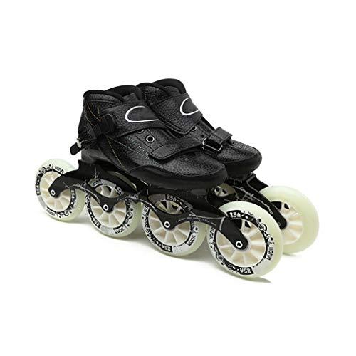 Sljj Adult Profi Racing Skates, 4 * 90-110mm Räder Carbon-Faser-Profi Roller Skates for Frauen Schwarz Inline Speed Skates Rot Blau (Color : Black, Size : EU 44)