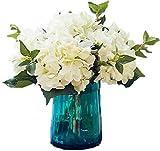 Lannu Artificial Silk Flowers California Fake Hydrangea Floral Bunch Bouquet Flower for Home Wedding Wall Decor Pack 2, (Cream)