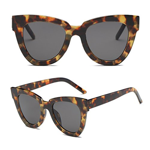 MINGSTORE, Gafas de Sol Retro de Ojo de Gato a la Moda para Mujer, Montura Cuadrada de diseñador, Gafas Nuevas, Pieza Gris Concha de Tortuga