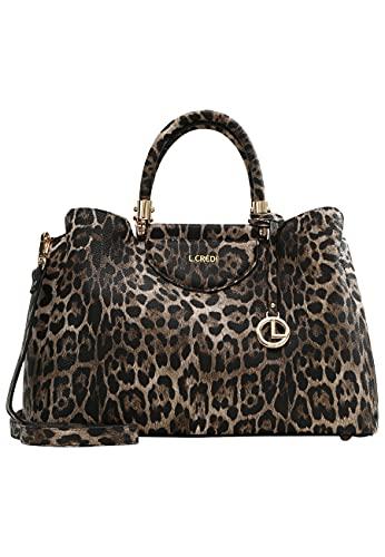 L. CREDI Henkeltasche Henna in Leoparden-Optik Damen
