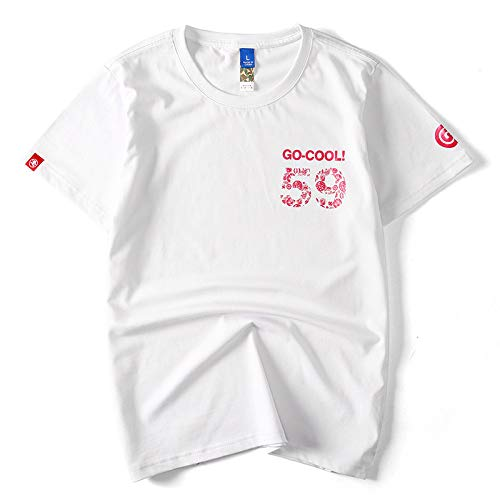 el Verano Hombres Camiseta,Series Japonesas Tendencia Tee,Pareja Masculina Y Femenina Dibujos Animados Camiseta al aire libre/blanco/Xxl