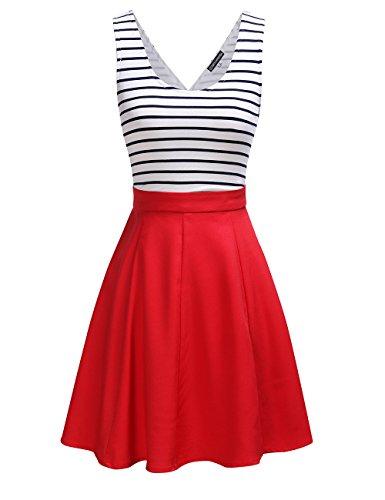 OMY OMEYA.WANSHIDA. Womens Sexy Open Back Cocktail Slim Black White Striped Mini Dress Red S