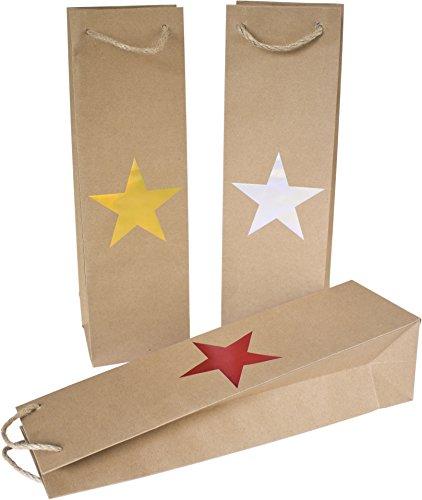 25 Flaschentaschen aus Papier mit Stern-Motiv, 3 Farben (10x rot, 8x gold, 7x silber)