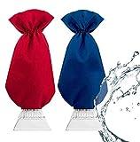 2 Guantes Rascadores de Hielo - Protege las Manos Mientras Limpia Eficazmente la Escarcha/Nieve del Parabrisas - Raspador Hielo Coche - Antideslizante Impermeable Rasqueta