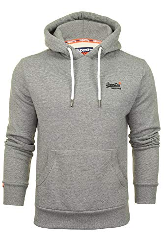 Superdry Mens Overhead HoodieSweatshirt 'Orange Label Classic Hood' (Hammer Grey Feeder) L
