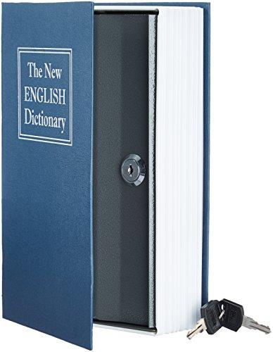 Amazon Basics - Caja de seguridad en forma de libro - Cerradura con llave - Azul