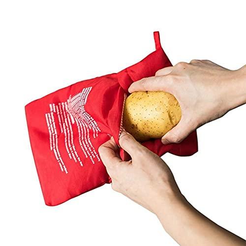 Ruluti 1 Unids Bag Lavabile Rosso Cottura a Microonde Cottura Borsa Tasca Patate Riso Easy Tools Gadget Cucina Cucina Strumenti di Cottura