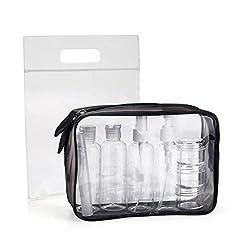 Idea Regalo - Beauty Case da Viaggio, MOCOCITO Trousse Trasparente + 8 Bottiglie(Massimo 100 ml) + Volo Borsa da Toilette Viaggio Custodia Trucco(20x20cm), Approvata Dai Regolamentazioni UE & UK Sul Bagaglio a Mano
