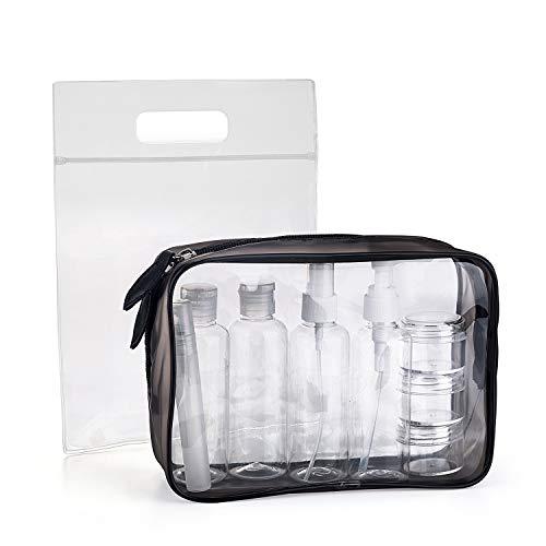 MOCOCITO Kulturbeutel durchsichtig und 8 Stück Reiseflasche Set (max.100ml) und Plastikbeutel für Flüssigkeiten zugelassen (20x20cm) nach EU&UK Handgepäckbestimmungen|Kulturtasche für Flüssigkeiten