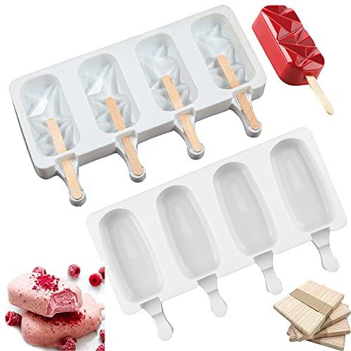 Eisformen, 2 Stück 8 Zellen Silikon EIS am Stiel Formen, mit 100 Holzstielen, für Kuchenform Dessertform DIY Frozen Dessert Eisformen für Kinder Erwachsene