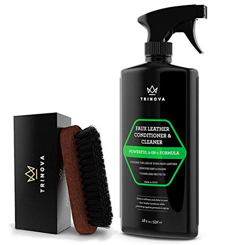 TriNova Leatherette, Vinyl and Faux Leather Cleaner & Conditioner & Leather Brush Bundle - Clean & Condition Pleather Car Seats, Jackets, Handbags, Sofas, Couches, Shoes, Boots & More