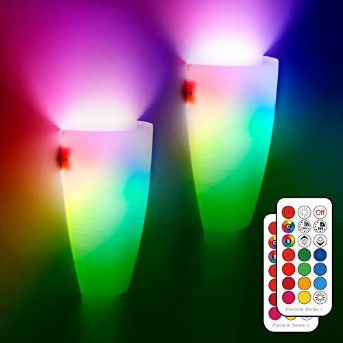 Apliques de pared LED para interiores, paquete de 2 luces modernas de pared con mando a distancia con RGB E27 que cambian de color para sala de estar, dormitorio, pasillo, porche, pasillo, escaleras