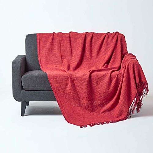 Homescapes Tagesdecke Nirvana, rot-orange, Wohndecke/Sofaüberwurf aus 100prozent Baumwolle, 150 x 200 cm, Knoten-Optik mit Fransen