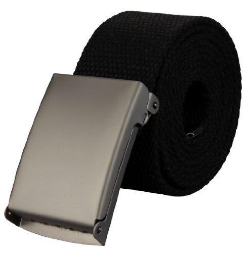 Alex Flittner Designs Hochwertiger Stoffgürtel in 4cm Breite mit Klappschnalle in schwarz | Gesamtlänge: 140cm = Bundweite 125cm