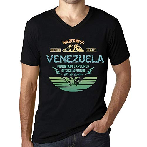 One in the City Hombre Camiseta Vintage Cuello V T-Shirt Gráfico Venezuela Mountain Explorer Negro Profundo