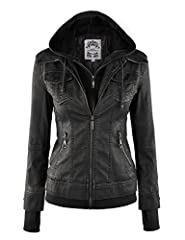 A 2-for-one denim style jacket but fabricated in faux leather / Featuring an attached hoodie with rib trim Metal exposed front zipper placket and pockets with patch and button closure Long sleeves with attached rib cuff and secret thumb opening detai...
