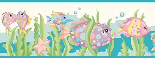 Dundee Deco BD6058 Tapeten Bordüre für Kinder, blau, grün, rosa Fisch, Muschel, Oktopus, Schildkröte, Seestern, Tapetenbordüre Retro-Design, 4,57 m x 15,24 cm