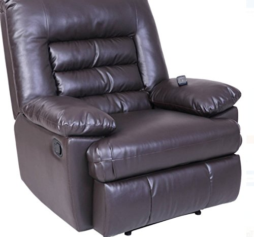 Serta Big & Tall Memory Foam Massage Recliner, Leather, Brown With Deep Soft Body Pillows And Memory Foam In Seat