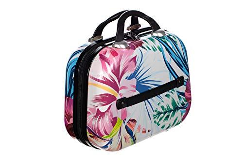 Birendy Reisekoffer Polycarbonat Hartschalen Hardcase Trolley mit Zahlenschloss Koffer Kofferset 4 Rollen einfacher Transport (A4-Blumen bunt, M - Beautycase 33x28 cm)