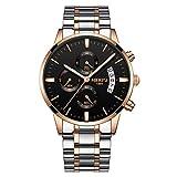 xiaoxioaguo Reloj de hombre de lujo para hombre, estilo casual, reloj de cuarzo militar, color rosa dorado y negro acero