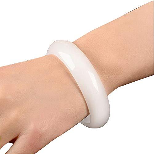 YUN Clock China Natürlich Weißer Nephrit Jade Armband Armreif 54-64 MM Für Frauen Fein Schmuck Mit Geschenkbox,60~62MM
