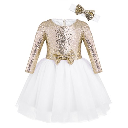 iEFiEL Baby Girls Sequins Mesh Flower Princess Pageant Wedding Birthday Party Tutu Dress Gold Long Sleeves 12-18 Months