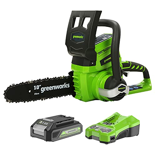 Greenworks 24 V 25 cm Motosierra Inalámbrica, Velocidad de Cadena 4.2 m / s, Lubricación Automática (con 2 Ah Batería y Cargador)