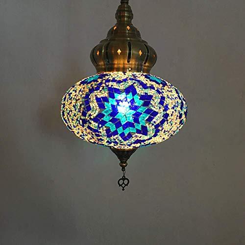 Fikujap Lámpara Colgante turca, Linterna de Mosaico multicolora Luz de Techo de 10 Pulgadas de Ancho de Ancho de Color marroquí con Bombillas LED Gratis para Sala de Estar Lámpara de Noche,I