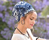 Amazing Soft Blue White Headscarf TICHEL, Hair Snood, Head Scarf, Head Covering, Jewish headcovering, Scarf, Bandana,Headscarf, Chemo, Jewish headcovering