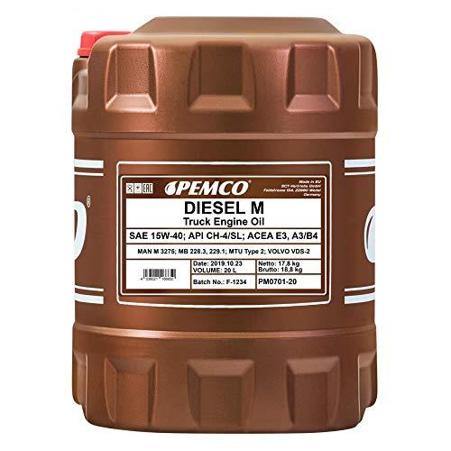 1 x 20L PEMCO DIESEL M SHPD 15W-40 API CH4 CG4 CF4 SL / LKW Motoröl VDS-2 228.3 229.1