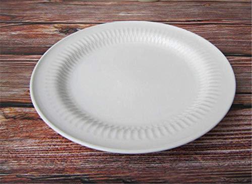 XiYou Assiette Vaisselle en Céramique Épaisse De Style Européen Assiette À Dîner en Relief Blanc Royal Britannique Assiette À Steak Western 12 Pouces