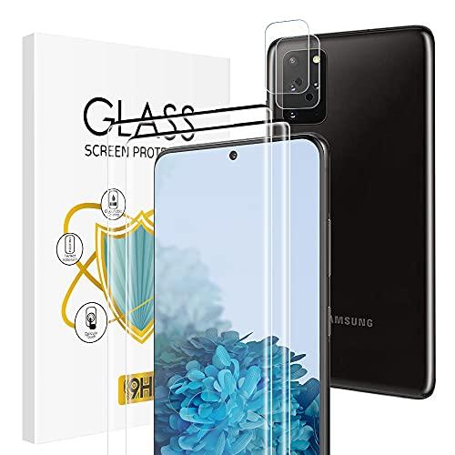 wsky Panzerglas für Samsung Galaxy S20 Plus und Samsung S20 Plus Kameraschutz, [2 + 2 Stück ] 9H Hartglas, Blasenfreie HD Klar Folie, Displayschutzfolie Anti-Öl Panzerglasfolie