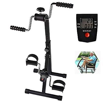 Cozylifeunion Pedal Exerciser - Hand Arm Leg & Knee Recovery Medical Peddler - Folding Adjustable Fitness Rehab Equipment for Seniors, Elderly - Home Pedal Exercise Bike for Total Body