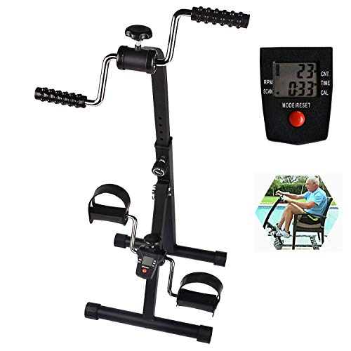 Cozylifeunion Pedal Exerciser - Hand Arm Leg & Knee Recovery Medical Peddler - Folding Adjustable Fitness Rehab Equipment for Seniors, Elderly - Home Pedal Exercise Bike for Total Body