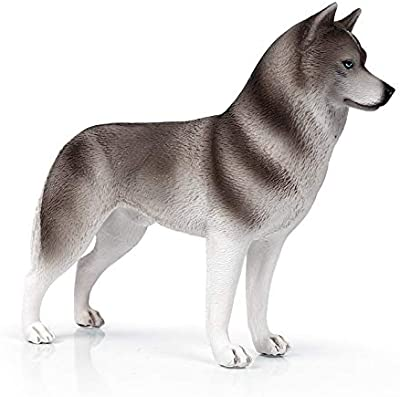 Dog Figurine Simulated Dog Realistic Plastic Animals for Collection Science Educational Prop (Gray Siberian Husky)