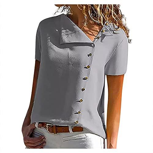 Liably Camiseta de verano para mujer, cuello irregular, de un solo color, con botones, manga corta, informal, moderna, básica, elegante, básica, para adolescentes gris L