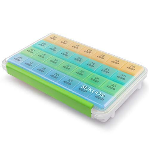 SUKUOS Pillendose 28 Tage Deutsch, Große Tablettenbox Monat Medikamentenbox mit 7 Fächer für 4 Wochen - Feuchtigkeitsbeständigen Bauart