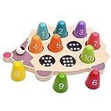 dailymall Juego de Juegos a Juego con Números de Erizo, Juguetes Educativos de Madera Montessori para Niños