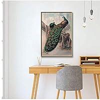 ピーコックフィギュアヴィンテージポスタープリント壁の写真女の赤ちゃん男の子部屋の装飾絵画壁の装飾-60x80cmx1フレームなし